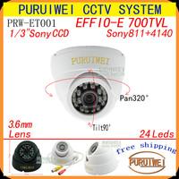 "100% Original 1/3""Sony CCD Effio-e 700tvl 24leds IR HD 960H Security indoor CCTV dome camera.free shipping !"