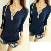Fashion Women's Girls Cotton Long Sleeve T-shirt  Bottoming Shirt Top 4Colors  9533 B9