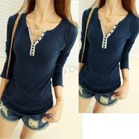 Fashion Women's Girls Cotton Long Sleeve T-shirt Bottoming Shirt Top 4Colors 38