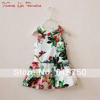 Super Quality 2014 summer new fashion children designer dress, kids girl print dress brand, girls party floral dresses, 2-12Y