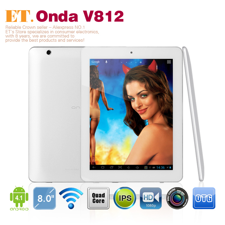 "Onda v812 quad core 4.1 android tablet pc 8""ips allwinner a31 quad core 2gb ram hdmi 16gb macchina fotografica 5.0mp"
