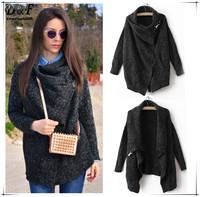 2014 Autumn/Winter New Fashion Design Cool Black Long Sleeve Knitwear Korean Crop Cute Oversize Knitted Casual Cardigan Sweater