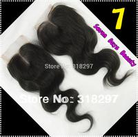 "Hair Free Shipping Brazilian virgin Hair Middle Part Body Wave Top Lace Closure 4""x4"" Hair Closures Virgin Brazilian Wavy"