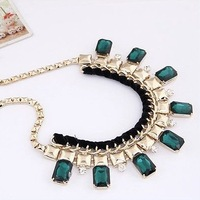 2013 New European Designer Dress Gold Alloy Gem Rhinestone Punk Bib Choker Statement Necklaces Fashion Jewelry For Women N9