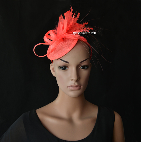 CORAL PINK Sinamay fascinator bridal fascinator with feather flower for kentucky derby wedding and party .FREE SHIPPING.(China (Mainland))