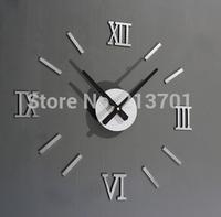 2014 New Metallic-feeling 3D DIY Funny Wall Clock Modern Design Decorative Fashion Roman Numeral Wall Clocks Home Decoration