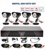 FREE SHIPPING CCTV DVR KIT 4PCS 600TVL waterproof IR-CUT Cameras CCTV IR KIT with HDMI