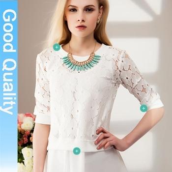 za**  fashion 2014 autumn -summer women's shirt feminina loose stitching long-sleeve t-shirt chiffon lace shirt blouse brand