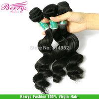 "Berrys Virgin Hair Product Brazilian Virgin Hair Loose Wave More Wave Hair Extension3pcs/lot(12""-28"")Hair Weaves Cheap Price"