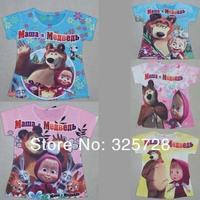in stock! 2013 cartoon masha and bear t shirts for girls dora sponge bob t shirt boy baby clothing  kids clothes boy kids tshirt