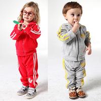Free Shipping  4 SIZES Boys Girls Corduroy Spring Autumn sports Clothing  Suit  Set Kids Longsleeve Hoody Jacket+ Pants