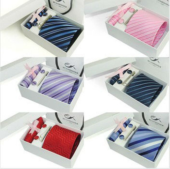 Hot selling Wholesale ties for Men Polyester Dress Set 3.15inch Wide Woven Ties Set :Tie+ Cufflink + Tie clip +Hankie+Gift Box