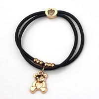 6pcs/lot New Bear Charms Rope Bracelets Elastic 18K Gold Crown & Hair Rope MB031 Lead Nickel Free Magi Jewelry