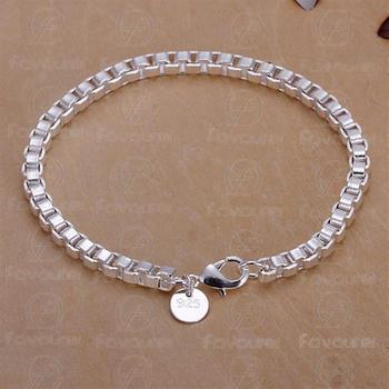 Min order 15$  H172 Silver Plated 4mm 925 Unisex Bracelet 925 Sterling Silver Box Bike Bracelet Good Quality