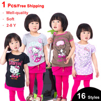 2013 Fashion Clothing Girls Short sleeve t-shirt Hello Kitty  kids tops Soft Summer Wear For Children White