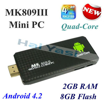 2014 New TV BOX MK809 III Quad Core RK3188 Cortex A9 MK809III MINI Androind 4.2 PC TV Stick 2GB / 8GB  1.8GHz