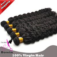 Wholesales Brazilian Virgin Hair Deep Wave 3Pcs/Lots 100g 12-30Inch Natural Color Human Hair Weaving Free Shipping
