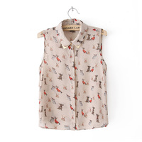 New summer Peter pan Collar Cute Dog Printed Sleeveless chiffon blouse  Free shipping   K47