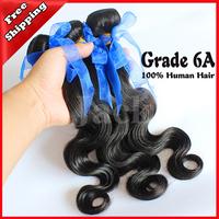 Wholesales Virgin Brazilian Hair Body Wave 4Pcs/Lot 1B Natural Color 100g Free Shipping Mix Size 12-30inch