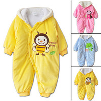 Retail 3 COLORS baby thicken cotton rompers kids clothing lovely cartoon baby boys girls hooded body suit winter infant garment