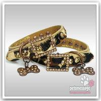 Dog Pet Collar Free Shipping 2014 New Bling Buckle Genuine Leather Luxury Rhineston Collar Bone Charm Wholesale MOQ 12pcs/lot