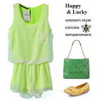 [Free Shipping] 2013 Summer new arrival western style outside fluorescent color yarn sleeveless women's jumpsuits shorts