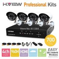 4CH 960H HDMI DVR 4PCS 700TVL IR Outdoor Weatherproof CCTV Camera 24 LEDs Home Security System Surveillance Kits No HDD