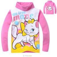 Free Shipping Children Autumn Spring Tee Shirts Baby Girls Red Cat Design Long Sleeve Bottoming T Shirt Kids Turtleneck Clothing