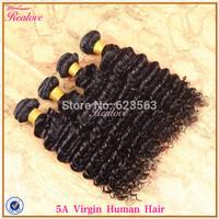 "Brazilian hair deep curly 4pc 8""-30"" brazilian deep wave cheap remy human hair extension Brazilian virgin hair weaves Realove"