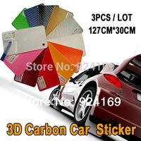 3pcs 3D Carbon 127x30cm Car Auto Fibre Sticker Vinyl Sheet car styling  For Cruze/Chevrolet/Motorcycle/Mobile/Laptop