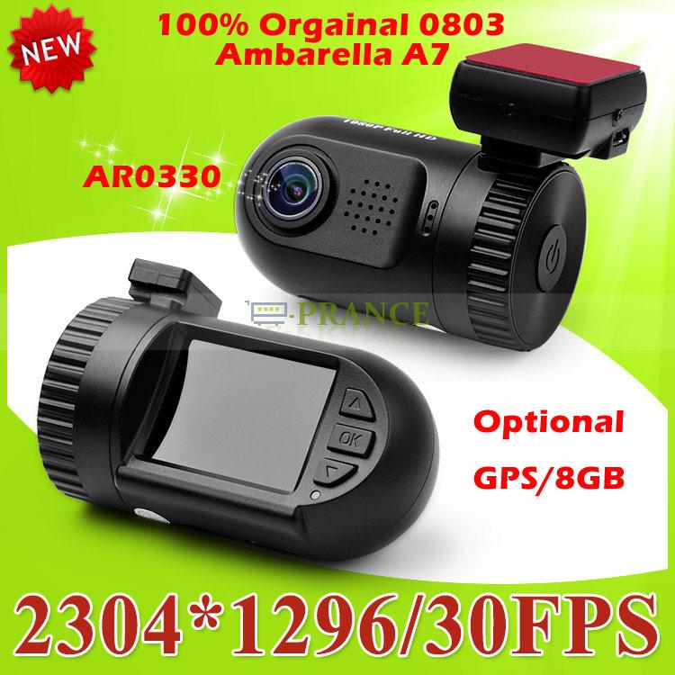 Big Promotion 100% Original Mini 0801 0803 Full HD Video Recorder Car Camera DVR Ambarella A7 A2 1080P 1296P SOS+ GPS/8GB(China (Mainland))