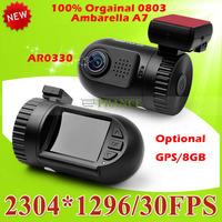Big Promotion 100% Original Mini 0801 0803 Full HD Video Recorder Car Camera DVR Ambarella A7 A2 1080P 1296P SOS+ GPS/8GB