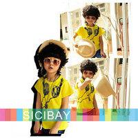 Retail Free Shipping 2014 New Fashion Little Kids Clothing Baby Boy Headphone Printed Tshirt Children's Tops  K0122
