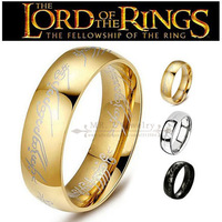 Free Shipping Real 18K Gold Plated Titanium Woman Mens Ring Lord Of The Rings Fashion Punk Gothic Jewelry (Size 6,7,8,9,10,11)