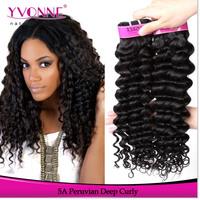 Grade 5A Unprocessed Curly Peruvian Virgin Hair Extension,3Pcs/lot Deep Curl Human Hair,12-28 Inches Aliexpress Yvonne Hair
