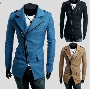 Free shipping !2014 autumn\winter  men's 3 pocket design ,Inclined zipper casual Dust Coat mans Coat .3 colours.size M-XXL