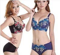 High-quality thin big yards Ms. cup thin section C cup bra gather adjustable underwear Set Free Shipping