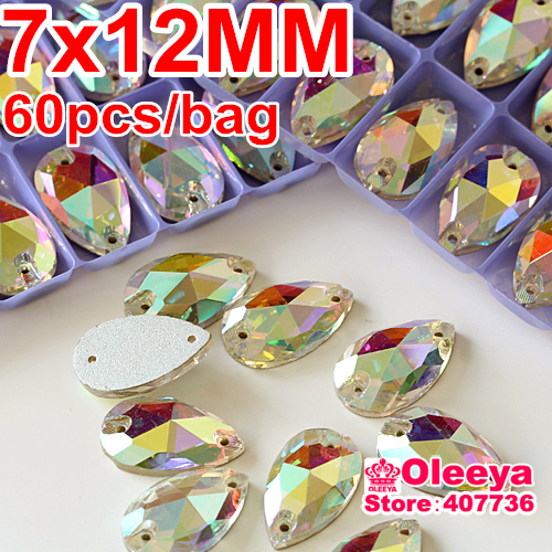 Wholesale! 60pcs 7x12mm dropwater Sew on rhinestones Crystal AB color Flatback Pear Shape Sew on Crystal stone with 2 holes(China (Mainland))