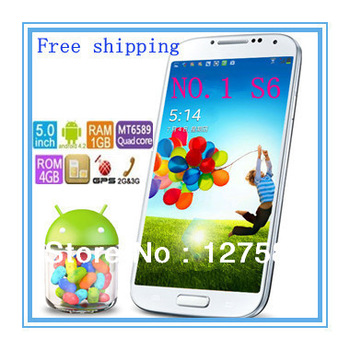 New arrival original NO.1 S6 Quad Core Phone MTK6589T with Andriod 4.2 OS 1G/ 4GB 1.2GHz 5.0 inch IPS Dual Camera 13.0MP 1:1 S4