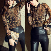 Hot Fashion Leopard Printed Chiffon Shirts For Women Sexy Long-sleeve Blouses Leasure See-through Tops Tees