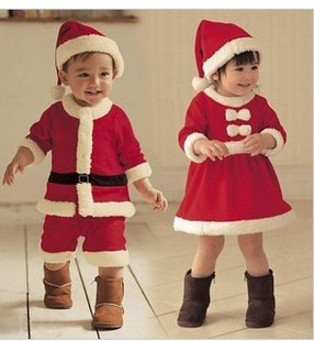 Baby Boy's Girl Christmas Costume Clothes, Santa Baby Dress,Children's Winter Suits Wholesale And Retail Free Shipping(China (Mainland))
