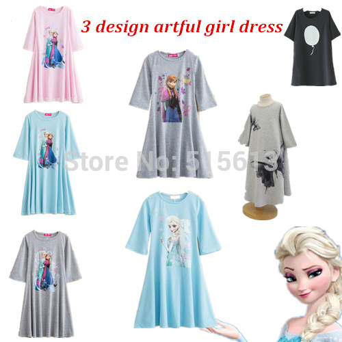 Retail 2013 New Autumn children clothing,girls korean beach dress,cotton print butterfly long design t-shirt,suit 2-10Y child(China (Mainland))