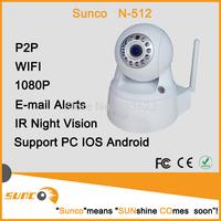 1080P/Night Vision WPA Internet wifi wireless ip White Dome  ptz camera with IR (N-512A)