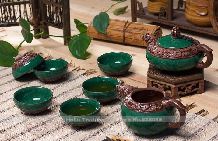 New porcelaine 2013 gaufré. dragon, tea set, glace, crack glaçure céramique ensemble de thé en chine, kung fu teapot+ foire. cup+ 6 l'cups