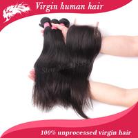 Mixed length brazilian virgin hair straight 3pcs hair bundles with lace closures free shipping 4pcs lot