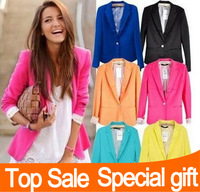 2014 Tops Fashion Tunic Women's Suit Blazer Candy Color One Button Cardigan Jackets Outerwear Coats Blazers Coat Basic Jacket