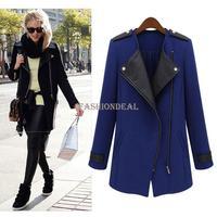 2014 New Fashion Winter/Spring Women Woolen Jacket Leather Zipper Long Collar Plus Size Coat Outerwear 2 Colors 19666