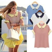 2014 Summer Hot Sale Women Chiffon Short-Sleeve Peter Pan Collar Shirts Fashion Casual Womans T-shirt B2 19491