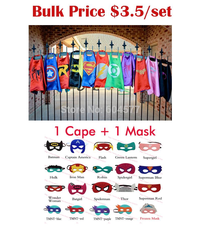 Superhero cape (1 Cape +1 Mask) - Super Hero Costume for Children Halloween Christmas Party Costumes for Kids Children's Costume(China (Mainland))