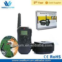 Free shipping 2013 hot remote control bark stop dog collars 100lv shock+vibra+lcd display 300m@